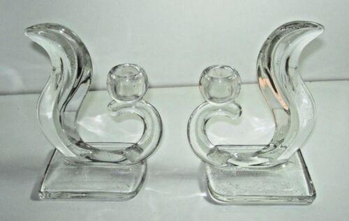 2 clear glass Vintage Art Deco nouveau Glass Candlestick candle Holder Pair
