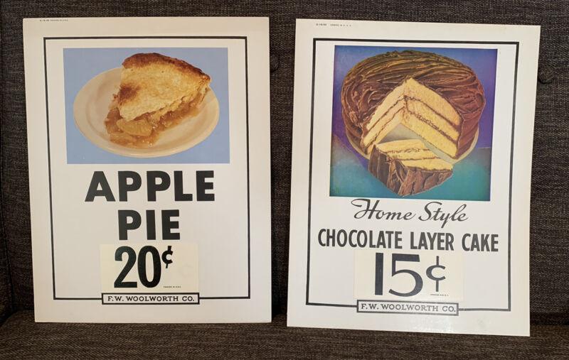 Lot Of 2 Woolworth Diner Counter Sign Menu Apple Pie German Chocolate Cake Vtg