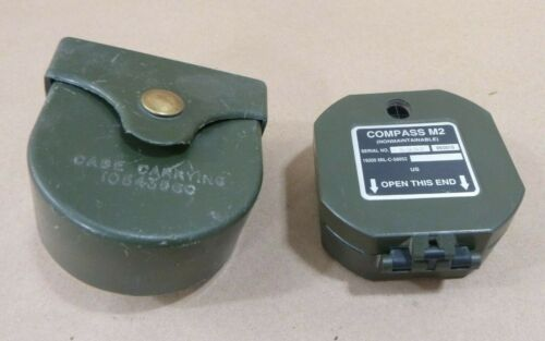 GENUINE US MILITARY - M2 MAGNETIC COMPASS PLASTIC - WITH CASE
