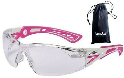 Bolle 40254 Rush Small Safety Glasses Pinkwhite Temples Clear Anti-fog Lens