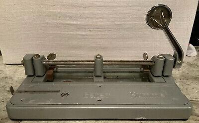 Vtg Bates Hummer 3 Hole Punch Heavy Duty Adjustable Paper Metal Office 314