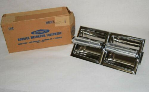 (NEW) BOBRICK B697 B-697 Dbl Roll Stainless Recessed Bath Tissue Dispenser