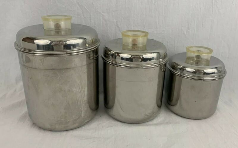 Revere Ware Stainless Steel Kitchen Canisters Tel U Top Diner Retro Kitchen