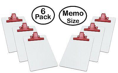 Acrimet White Clipboard Memo Size Premium Metal Clip Hardboard 6 - Pack Red