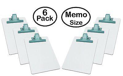 Acrimet White Clipboard Memo Size Premium Metal Clip Hardboard 6 - Pack Green