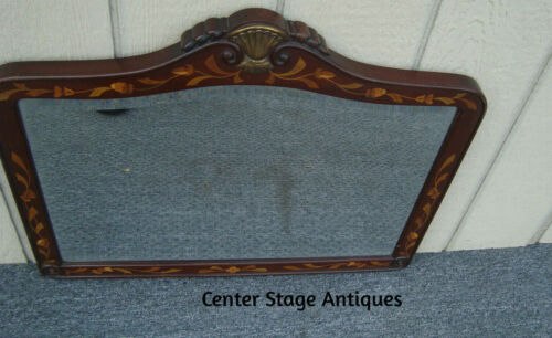 62127 Inlaid Antique Mahogany Mirror in Fancy Frame