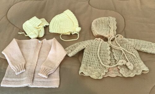Vintage - Lot of Baby Knit Sweaters, Bonnets, Booties - Pastel Pink & Yellow