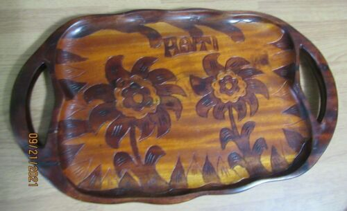 HAITI HAND CARVED WOOD TRAY 16X10 FLOWERS AND PINEAPPLE VGUC