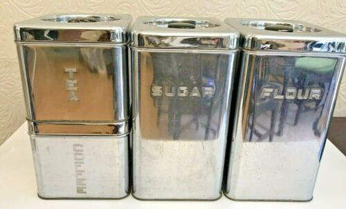 VTG 4-pc Metal Canister Set Retro Lincoln Beautyware Silver Country Mid Century