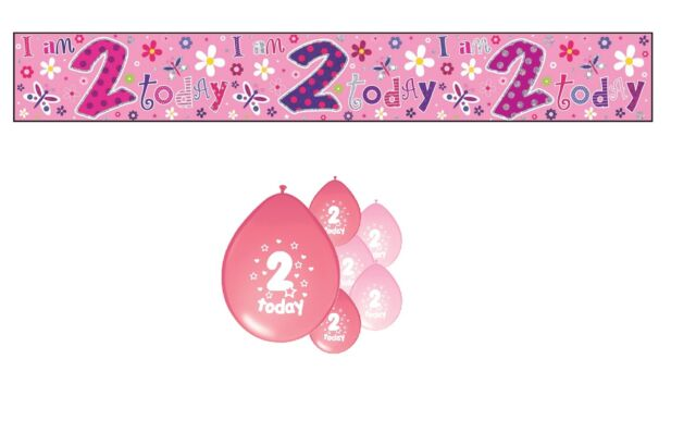 2nd BIRTHDAY PARTY PACK DECORATIONS BANNER BALLOONS (SE.P.1)