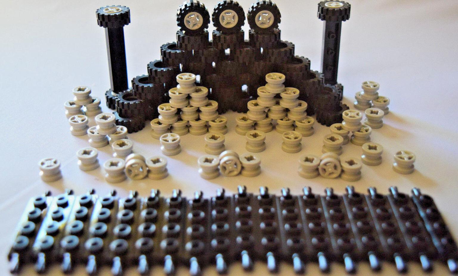 Car Parts - ☀️NEW LEGO Car Parts 100 pcs BLACK Wheels Tires Axles Grey Gray Rims Small Truck