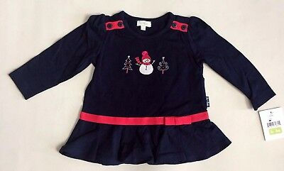NEW Le Top Baby Girl 3,9 Month Holiday Christmas Snowman Dress Cotton Navy Blue