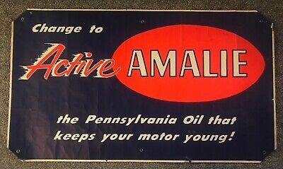 Large  Vintage Amalie Pennsylvania Motor Oil Poster / Sign  52 -