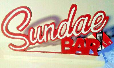NWT 'Sundae Bar' MCM 1950s Diner Retro Table Sign Americana Ice Cream Home Decor
