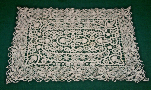 10 EXQUISITE VINTAGE NEEDLE LACE PLACEMATS, ACORN DESIGN, HANDMADE, c1930