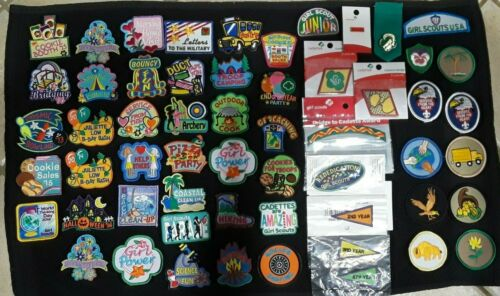 Lot of 57 Girl Scout & Cadette Badges Patches & Pins Most are New