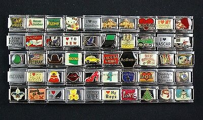 Italian Charms 50 assorted Stainless Steel Wholesale Lot 9mm  (C50-141)