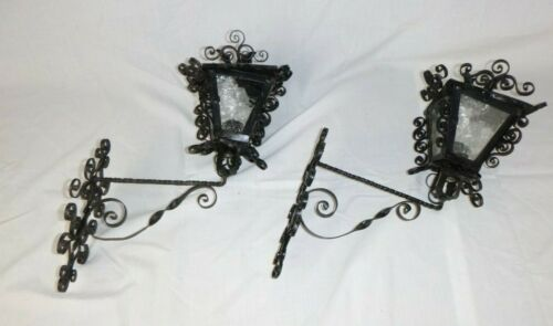 Pr Vtg Scroll Wrought Iron Carriage Light Sconces Ornate Spanish Gothic NEED TLC
