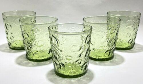"Lot Of 5 Vintage Green Drinking Glasses Lido Milano Bumpy Crinkle Tumbler 3-3/8"""