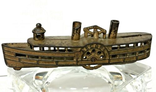 "Antique Cast Iron ""Arcade"" Steamboat  Still Bank - ORIGINAL -- Nautical-- Boat"