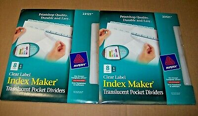 Lot Of 2 Avery 23121 Clear Label Index Maker Translucent Pocket Dividers 8 Tabs
