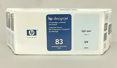 680 Ml Light (HP 83 Light Cyan 680ML UV Ink Cartridge Printhead Cleaner C5004A New Sealed Box )
