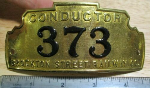 Obsolete 1900 Brockton Street Railway Trolley Conductor Badge Massachusetts MA