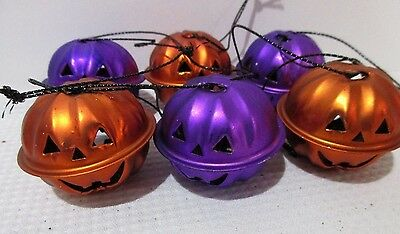Halloween Pumpkin Orange Purple Mini Bell Tree Ornaments Decorations Set of 6 - Mini Halloween Tree Ornaments