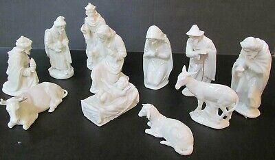 "Dresden 11 Piece Nativity Set Crown Over ""D"" White Gloss Porcelain"
