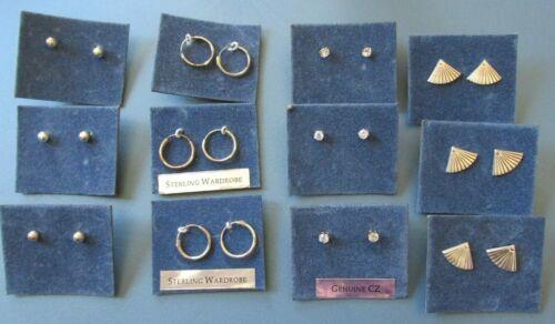 NEW Wholesale Lot of 12 Pairs Sterling Assorted Stud Hoop Earrings