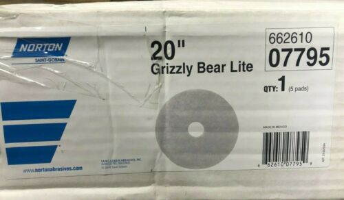 "(5ct) Norton 20"" White Pads Grizzly Bear Lite 66261007795 floor buff janitor"