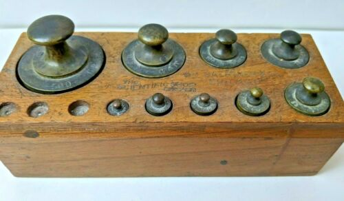 Antique Brass Scale Weights 500 Grams to 5 Grams in Wood Box for Balance Scale