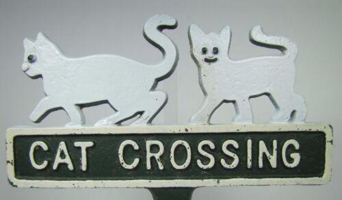 Vintage CAT CROSSING Sign Embossed Cast Metal Garden Yard Art Pair of Kittens