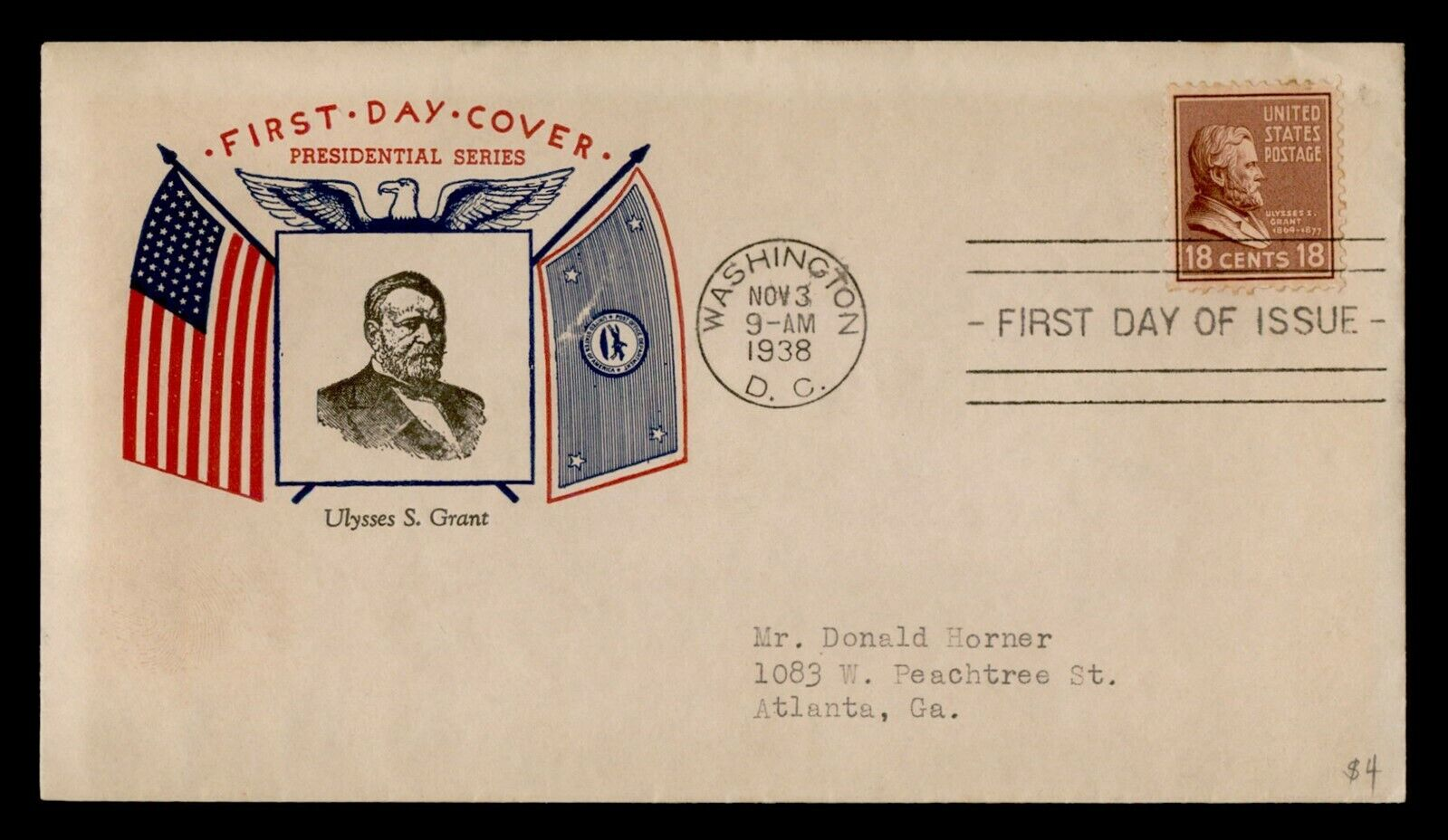 DR WHO 1938 ULYSSES S. GRANT PREXIE FDC C211910 - $0.50