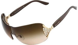Authentic BVLGARI  Womens Gold Brown Crystal Sunglasses BV 6061B 278/13 Bulgari