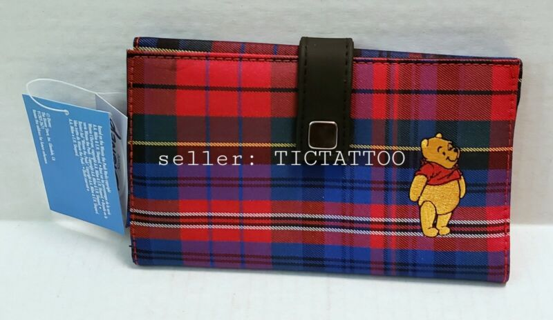 🔥 WINNIE-THE-POOH Trifold WALLET Red Blue PLAID Disney NEW NWT Embroidered