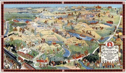 Glacier National Park Montana Waterton Lakes 1925 pictorial map POSTER 6782004