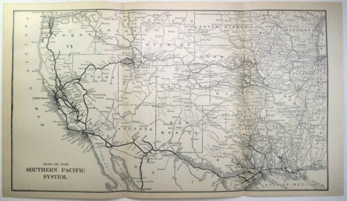 Southern Pacific Railroad - Original 1907 Dated Route Map.