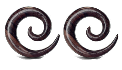 Pair Wood Spirals Tapers Ear Plugs Tunnels Gauges 8g 4g 2g 0