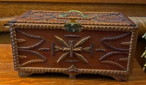 Antique Carved Tramp Art Box - Hinged Lid