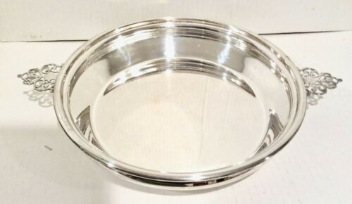 "Forbes Silver Plate Pie Pan Holder, Carrier, Handles, 10"" with Pyrex Pie Plate"