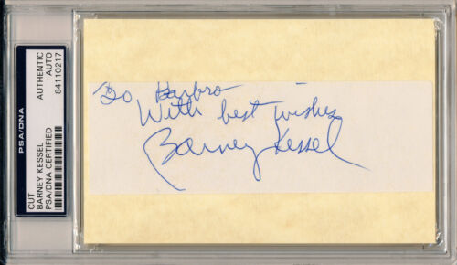 BARNEY KESSEL Signed Album Page Cut Jazz Guitarist The Wrecking Crew PSA/DNA