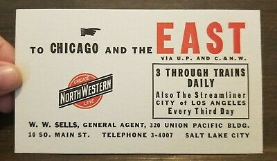 Chicago NorthWestern Line City LOS ANGELES Steamliner Vintage Train Ink Blotter