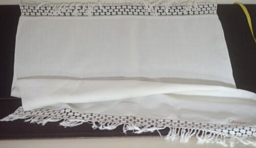 VINTAGE ANTIQUE LINEN TOWEL CROCHET EDGES DVJ MONOGRAM UU265