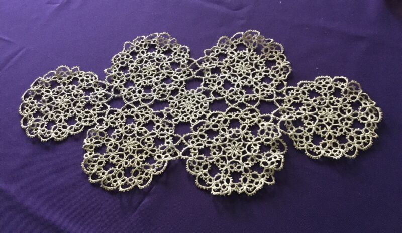 "Vintage Antique Tatted Lace Dark Ecru Color 19"" X 10"""