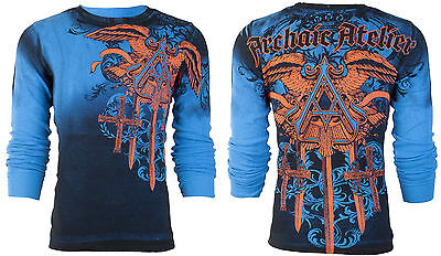 Archaic Affliction Men Thermal T Shirt Daventry Tattoo Fight Biker Ufc M 3Xl  58