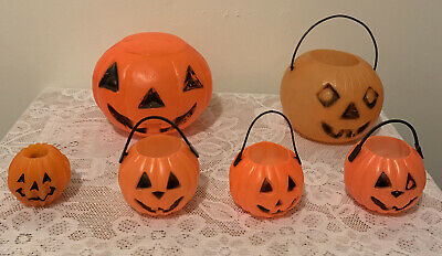 LOT OF 5 VINTAGE BLOW MOLD PUMPKIN JACK O LANTERN CANDY BUCKET& CANDLE