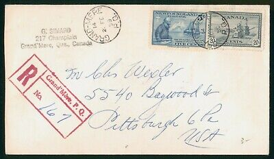 Mayfairstamps Newfoundland 1959 Canada Mixed Franking Grand-Mere Registered cove