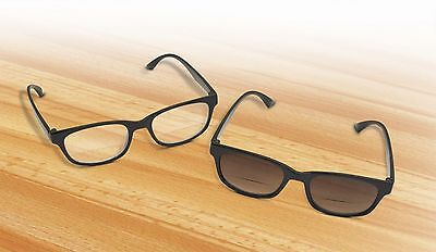 2 Bifocal Reading Eyeglasses With Sunreader Sunglass Glasses Eye Unisex (Sunglasses With Reading Glasses)