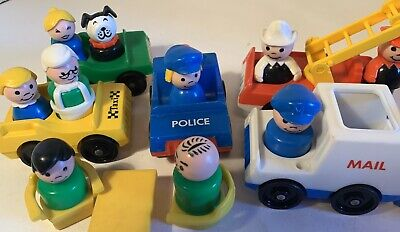 Vintage Fisher Price Little People City Utility Vehicles Workers Townspeople Etc